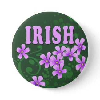 Irish And Four Leaf Clovers Button