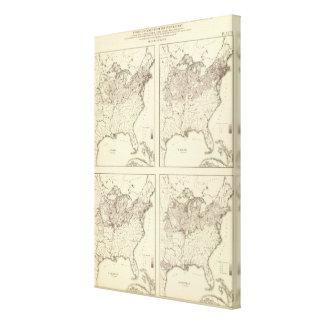 Irish and German Population 1870 Stretched Canvas Prints