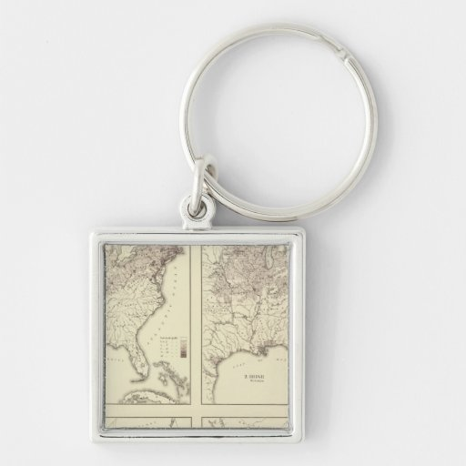 Irish and German Population 1870 Silver-Colored Square Keychain