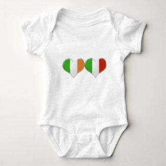Irish and Italian Heart Flags Baby Bodysuit