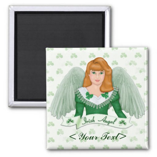 Irish Angel and Banner 2 Inch Square Magnet