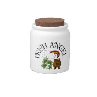 Irish Angel Shamrocks Pot Of Gold Candy Jar