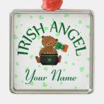Irish Angel Teddy Bear Square Metal Christmas Ornament