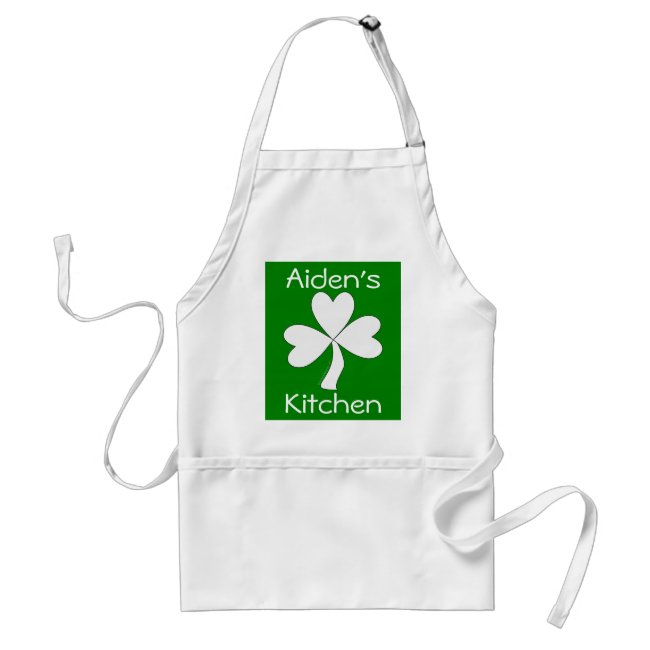 Irish Apron White Shamrock Personalized Kitchen