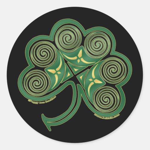 Irish Art Sticker, Spiral Shamrock #2 Classic Round Sticker