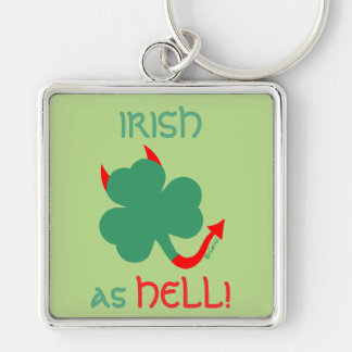 Irish as Hell Devilish Shamrock Red Horns Tail Silver-Colored Square Keychain