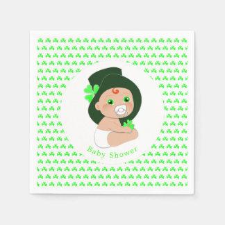Irish Baby Leprechaun Lucky Shamrock Baby Shower Paper Napkin