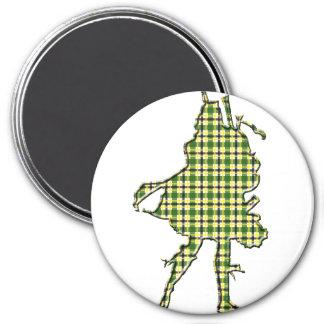 Irish Bagpiper 3 Inch Round Magnet