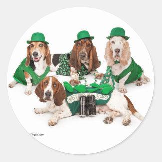 Irish Basset hound quartet Classic Round Sticker