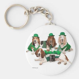 Irish Basset hound quartet Basic Round Button Keychain