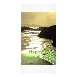 Irish Beach St Patricks Day Custom Photo Card
