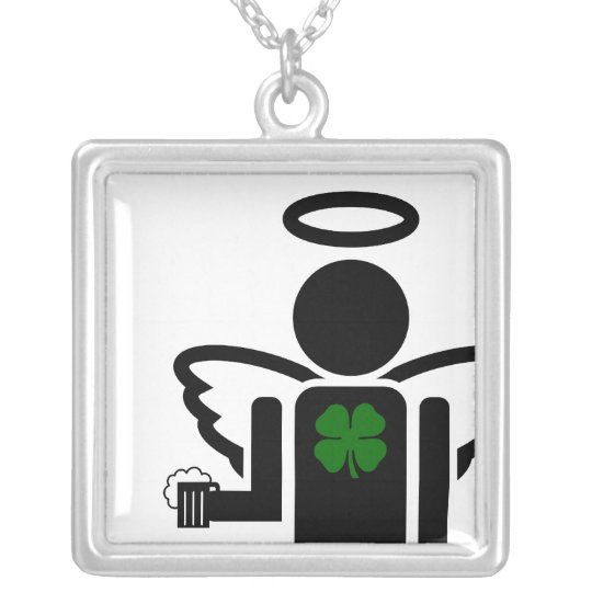 irish beer angel. silver plated necklace