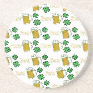 Irish Beer Clovers Drink Coaster