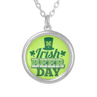 Irish BEER day Silver Plated Necklace