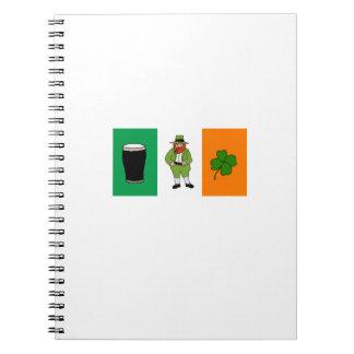 Irish Beer Leprechaun Clover Flag Cartoon Notebook