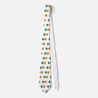 Irish Beer Leprechaun Clover Flag Cartoon Tie