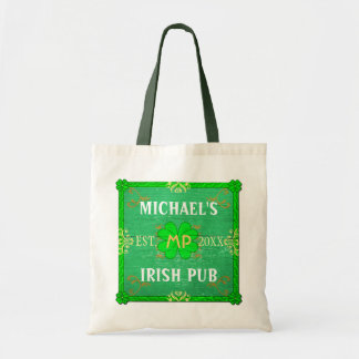 Irish Beer Pub Brewpub Green | Custom Name Tote Bag