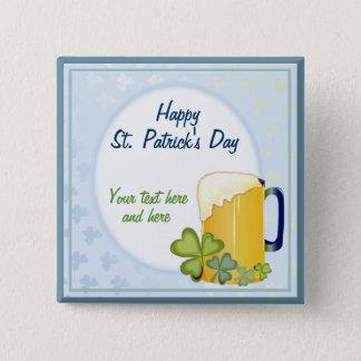 Irish Beer & Shamrocks Button