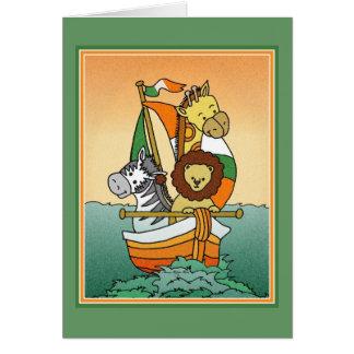 Irish Birth Announcement Animal Voyage Template Greeting Card
