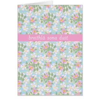 Irish Birthday Card: Pink Dogroses on Blue Cards