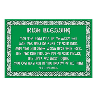 Irish Blessing 1 in Celtic Knot Frame Poster