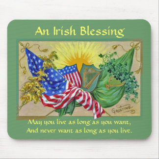 Irish blessing and flags mouse pad