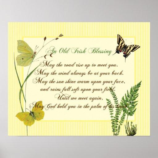 Irish Blessing Botanical Poster