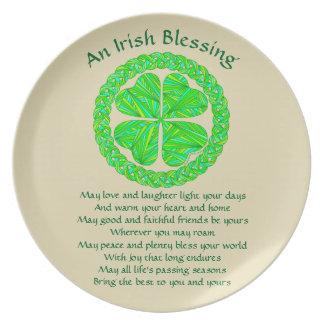 Irish Blessing Celtic Shamrock Dinner Plate