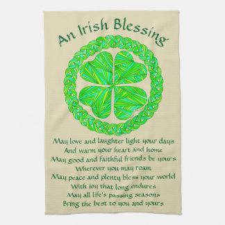 Irish Blessing Celtic Shamrock Kitchen Towel
