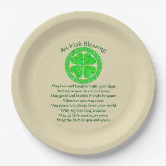 Irish Blessing Celtic Shamrock Paper Plate