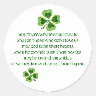 Irish Blessing Classic Round Sticker