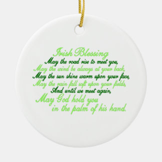 Irish Blessing Double-Sided Ceramic Round Christmas Ornament