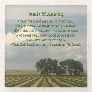 Irish Blessing Farmland Photo Glass Coaster