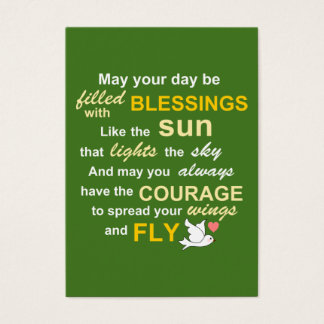 Irish Blessing for Courage - Typography in green Business Card