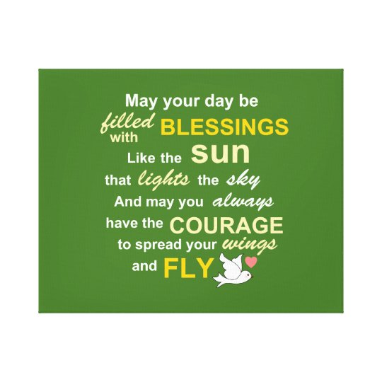 Irish Blessing for Courage - Typography in green Canvas Print