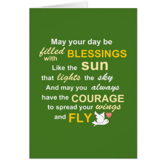 Irish Blessing for Courage - Typography in Green Greeting Card