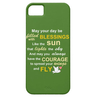 Irish Blessing for Courage - Typography in green iPhone 5 Case