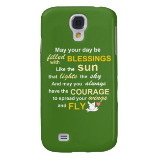 Irish Blessing for Courage - Typography in Green Samsung Galaxy S4 Case
