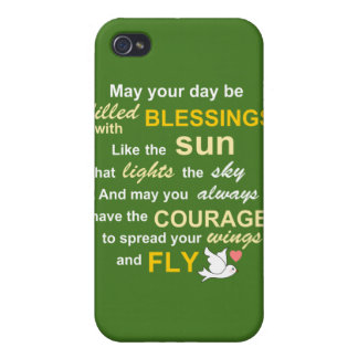 Irish Blessing for Courage - Typography in Green Case For iPhone 4