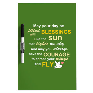 Irish Blessing for Courage - Typography in green Dry Erase Board