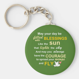 Irish Blessing for Courage - Typography in Green Key Chain
