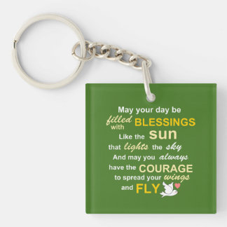 Irish Blessing for Courage - Typography in green Single-Sided Square Acrylic Keychain