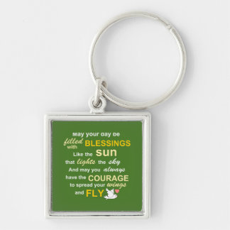 Irish Blessing for Courage - Typography in Green Key Chains