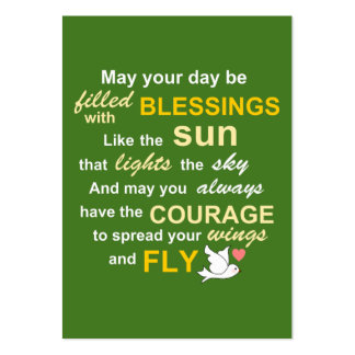 Irish Blessing for Courage - Typography in green Large Business Cards (Pack Of 100)