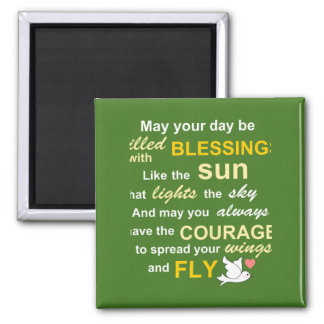 Irish Blessing for Courage - Typography in Green 2 Inch Square Magnet