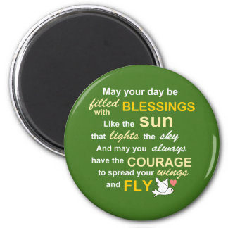 Irish Blessing for Courage - Typography in Green 2 Inch Round Magnet