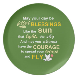 Irish Blessing for Courage - Typography in green Melamine Plate
