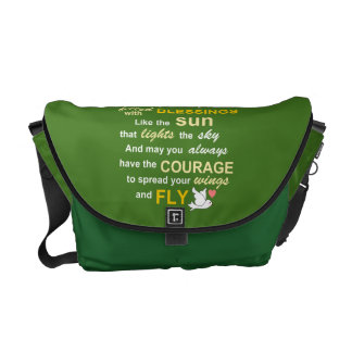 Irish Blessing for Courage - Typography in green Messenger Bag