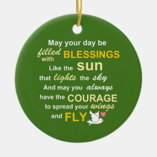 Irish Blessing for Courage - Typography in green Double-Sided Ceramic Round Christmas Ornament