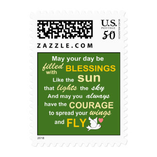 Irish Blessing for Courage - Typography in green Postage